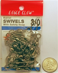 Eagle Claw Brass Barrel Swivel with Safety Snap 12 Pack